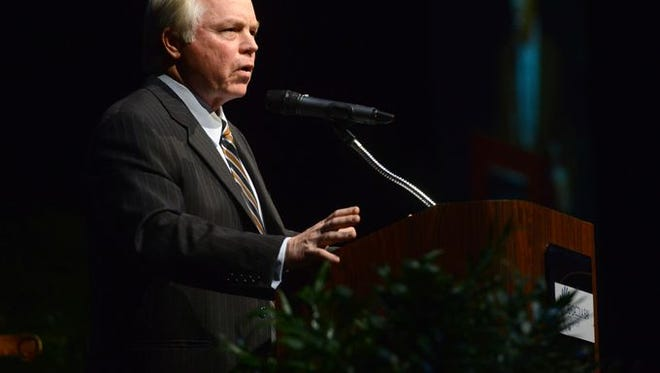 Buck Showalter speaks during the The City of Champions 2015 banquet and celebration Thursday evening at the Pensacola Bay Center. This year's event was held to honor professional baseball players from the Pensacola area and raise more funds for a Pensacola sports museum.