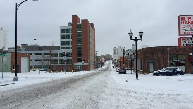 A shot of Boonville Avenue headed toward downtown