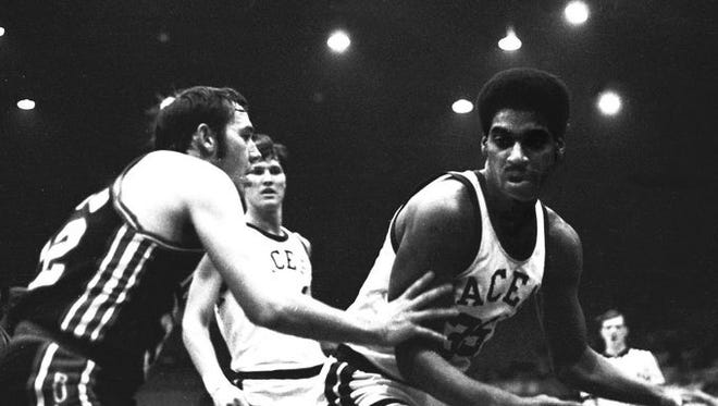 """Roger Brown, right, known as the """"Rajah,"""" won three ABA championships with the Indiana Pacers."""