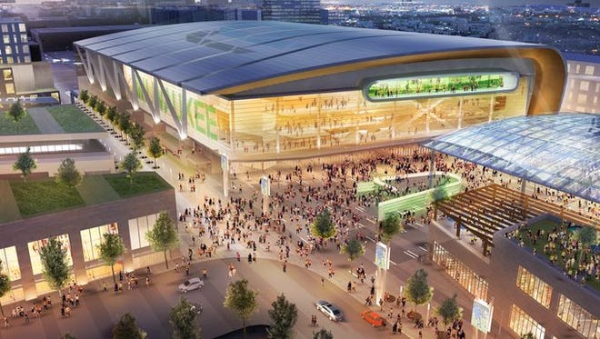 A rendering of a proposed new Milwaukee Bucks arena.