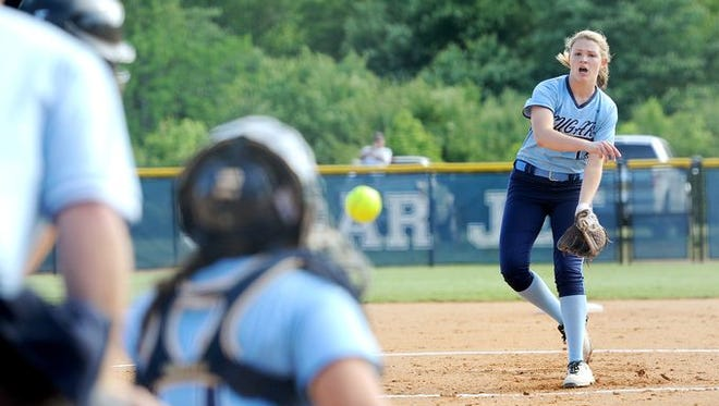 Sophomore Katie Grace Olinger was the winning pitcher for Enka on Friday in Greensboro.