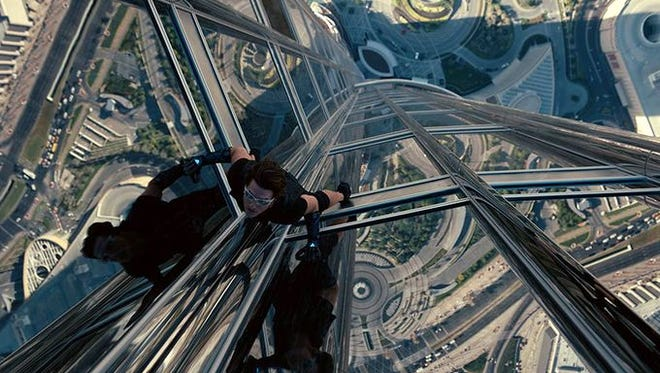 """The """"Mission: Impossible"""" franchise is all about incredible stunts. In fourth film """"Mission Impossible: Ghost Protocol,"""" Cruise performed stunts on the Burj Khalifa skyscraper, the world's tallest, in Dubai."""