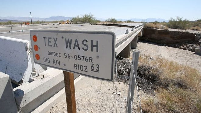 The Tex Wash bridge was washed out by water, shutting down Interstate 10 between Coachella and Blythe in California.