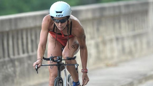 Maggs Morris was the female winner of the Asheville Triathlon Sunday.