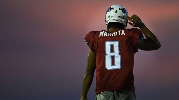 Quarterback Marcus Mariota at Titans training camp.