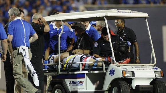Gunner Kiel was carted off the field last Thursday at Memphis, after taking a hard shot to the head. Kiel   will have his 17-game starting streak end this week.