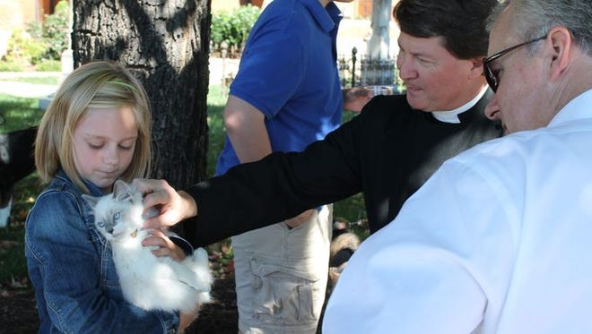 A priest blesses a cat during the Blessing of the Animals at Christ Church Episcopal last year.