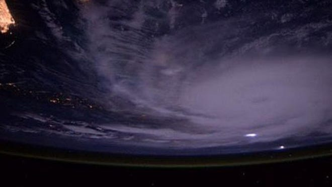 This Twitter image of Hurricane Joaquin was taken by astronaut Scott  J. Kelly from the International Space Station. His handle is @StationCDRKelly.