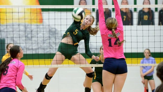 Towson (Md.) recruit Emily Russell led Reynolds with 15 kills on Thursday night.