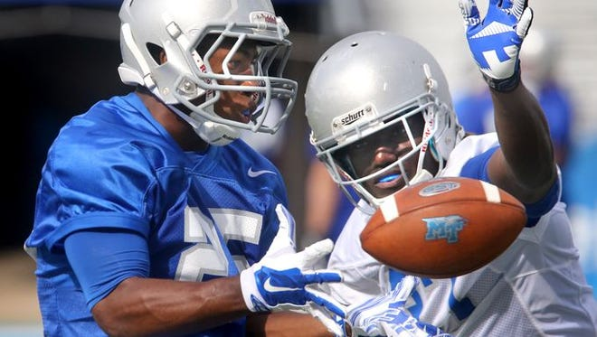 Desmond Anderson (25) has seen extended playing time over the past few weeks as MTSU looks to get back to its core and strength.