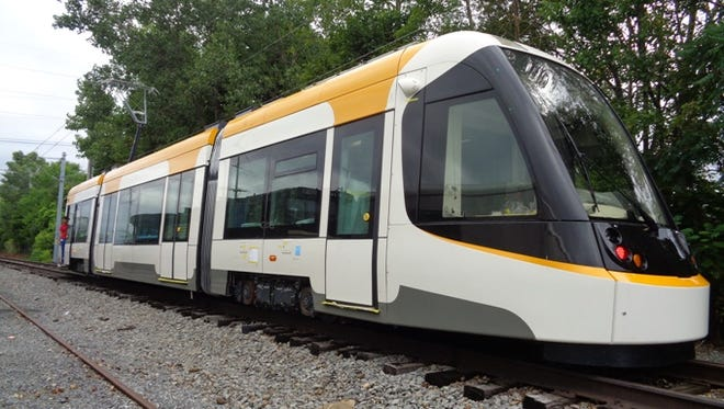 A look at the streetcar vehicle scheduled to arrive in Cincinnati on Friday.