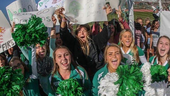 Brick High School shows their school spirit.