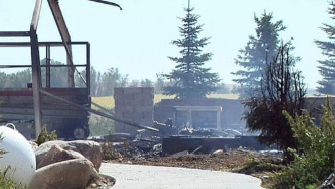 A home that burned down in a deadly fire south of Platte on Sept. 17, 2015, is shown in this frame from video provided by KELO-TV.