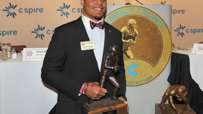 Mississippi State's Dak Prescott won the 2014 C Spire Conerly Trophy.