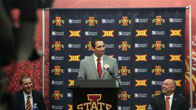 Matt Campbell speaks during his introductory news conference as Iowa State's new football coach.