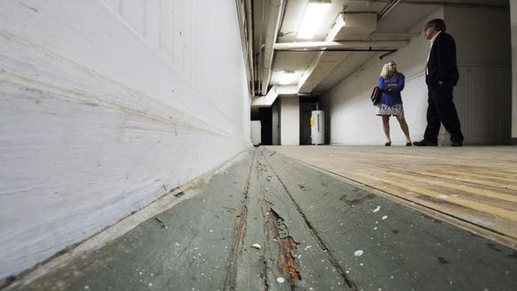 Now in the basement of the Lafayette Club. No one is even bowling alone on this old alley, with the gutter in immediate view. That area will be used as a preparation area for the kitchen.