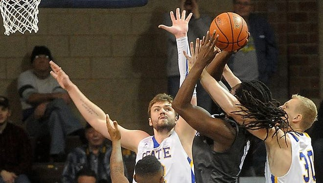 SDSU centers Ian Theisen (left) and Connor Devine (right) have played key roles in Jacks' strong start.