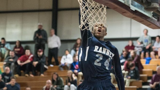 Ranney's Scottie Lewis goes to the hoop. Ranney beat Sayreville in an Albert E. Martin Buc Classic boys basketball game played at Red Bank Regional High School, Little Silver, NJ, on Monday, December 28, 2015. /Russ DeSantis for the Asbury Park Press / Slug: ASB 1229 boys basketball roundup  Russ DeSantis