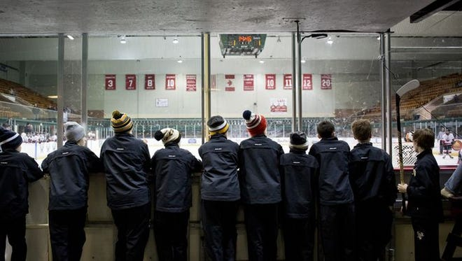 Members of the Pittsburgh Penguins Elite watch from behind the boards during a Silver Stick PeeWee AAA hockey game Thursday, Jan. 7, 2016 at McMorran Arena in Port Huron.