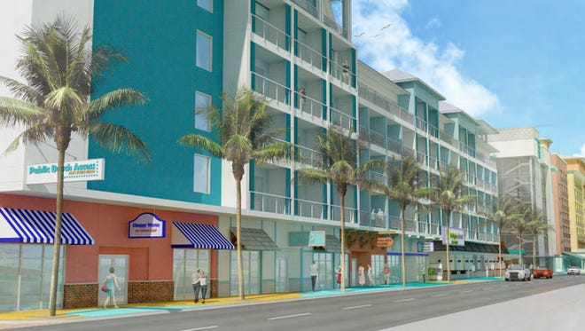 A first concept drawing by Grand Resorts FMB proposing four hotels, a retail esplanade and a parking garage on Fort Myers Beach is expected to get a makeover at a public meeting Thursday evening.