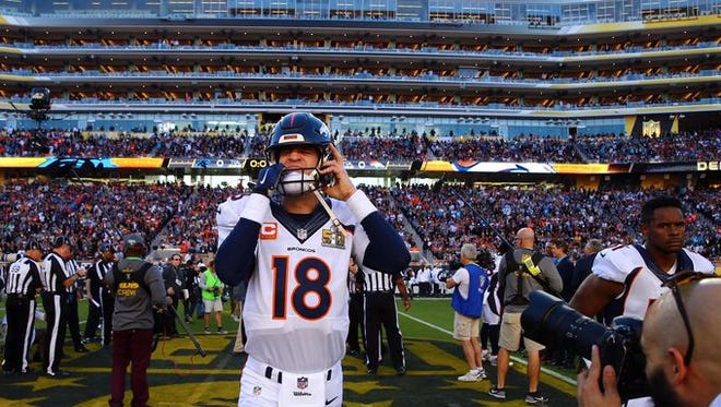 Peyton Manning takes the field for Super Bowl 50 on Sunday.