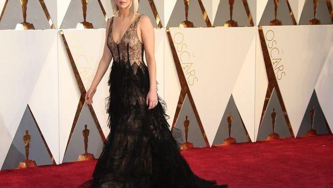Jennifer Lawrence on the 2016 Oscar Red Carpet.