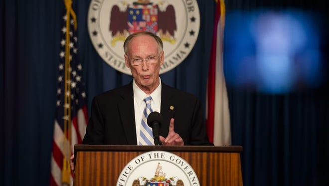 Gov. Robert Bentley speaks during a press conference about a lawsuit filed by the State of Alabama against the Federal Government over non-compliance with the Refugee Act of 1980 at the Alabama Capitol in Montgomery, Ala., on Thursday, Jan. 7, 2016.