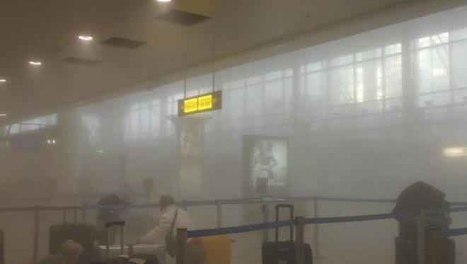 Inside the Brussels airport after one of the explosions.