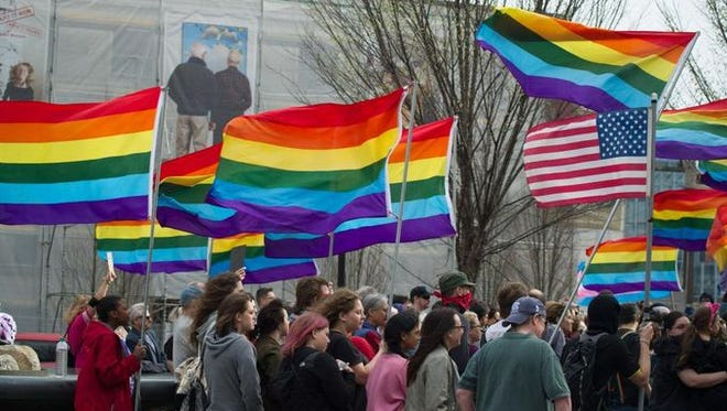 Area residents attend a March 24 demonstration against HB2 in Pack Square.