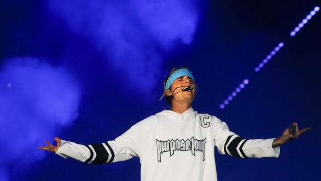 Justin Bieber performs at the KFC Yum! Center