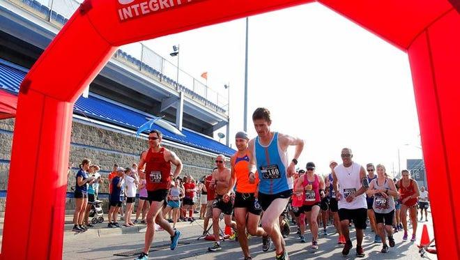 Runners start the Herald of Victory Marathon in 2016 at NYSEG Stadium.