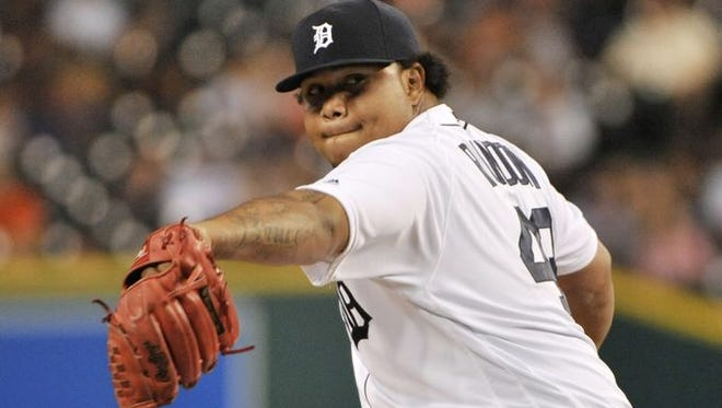 Tigers reliever Bruce Rondon throws a pitch in the eighth inning against Seattle Tuesday.