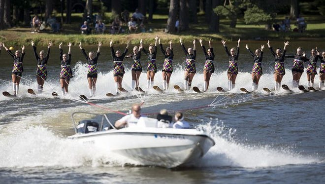 The Wisconsin Rapids Aqua Skiers' performance during the 50th Wisconsin State Show Ski Championships at Lake Wazeecha.