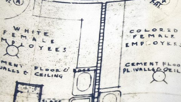 Yorktowne Hotel blueprints from 1924 show employee restrooms separated by race.
