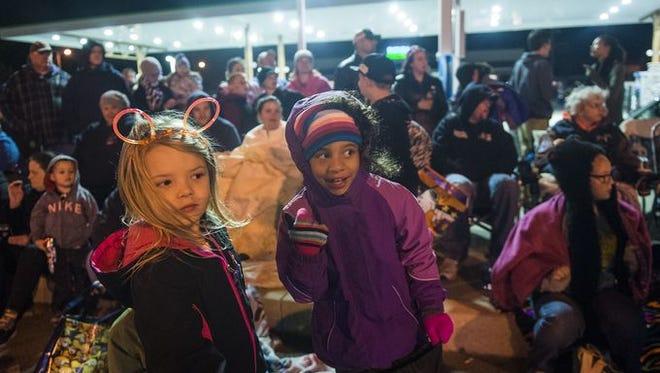 Children watch the Hanover Halloween Parade in 2015.