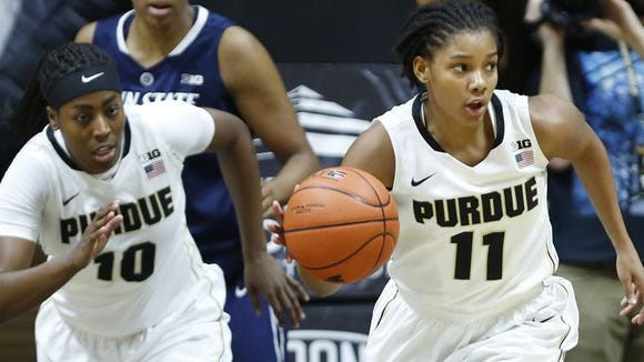 Andreona Keys (left) and Dominique Oden sparked Purdue's 64-51 victory over Penn State on Saturday