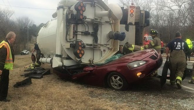 Two people were injured in this tanker truck crash in Clarksville Monday.