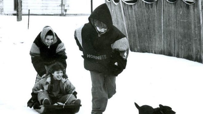 Kids play during a 1993 snowstorm in South Jersey.