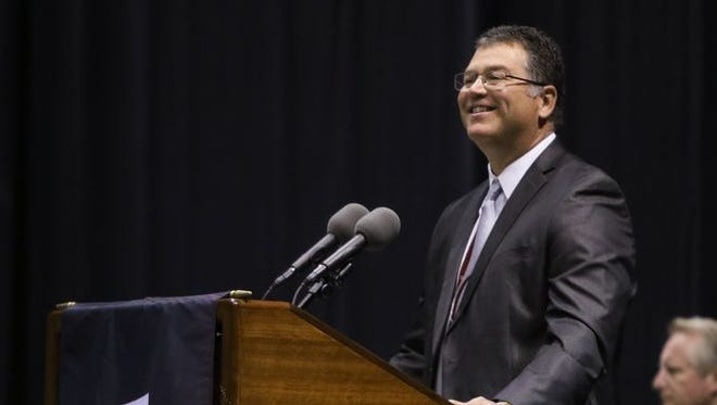 Willard Superintendent Kent Medlin spoke at the commencement ceremony mid-May at JQH Arena.