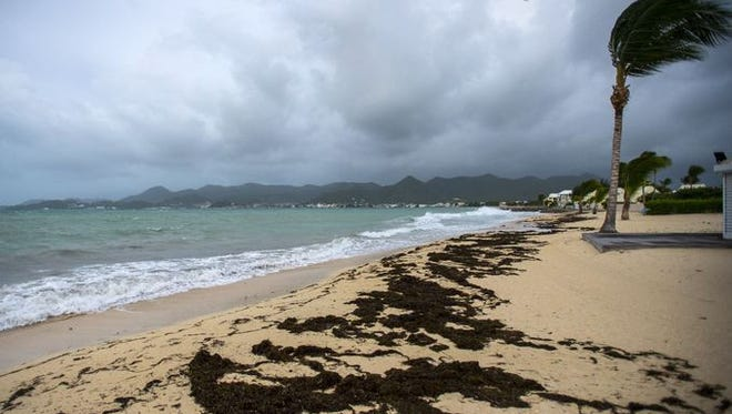 A picture taken on Sept. 5, 2017 shows a view of the Baie Nettle beach in Marigot on St Martin in the Caribbean Sea with the wind blowing ahead of the arrival of Hurricane Irma.