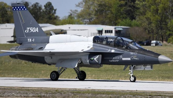 A T-50A lands on the tarmac at the Lockheed Martin Greenville Operations 244 Terminal on Monday, April 10, 2017.