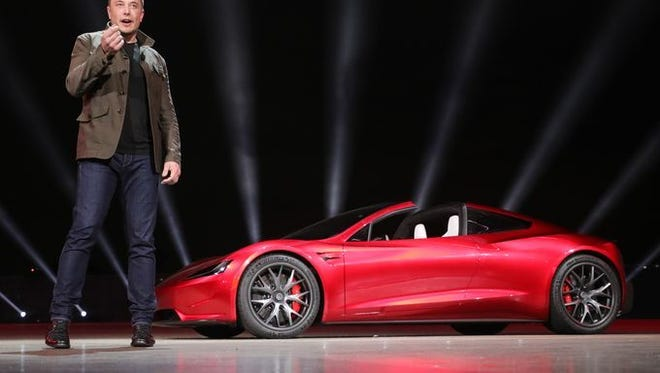 Tesla CEO Elon Musk revealed the new Tesla Roadster at an event last year in Hawthorne, California.