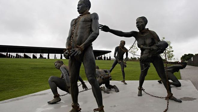 A sculpture at the National Memorial for Peace and Justice in Montgomery, Ala.