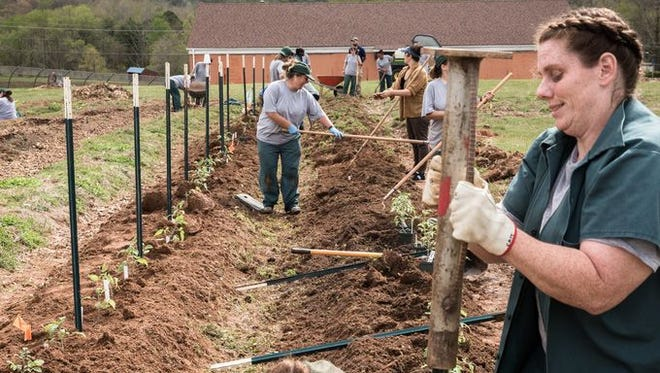 Women work in the garden at Swannanoa Correctional Center for Women.