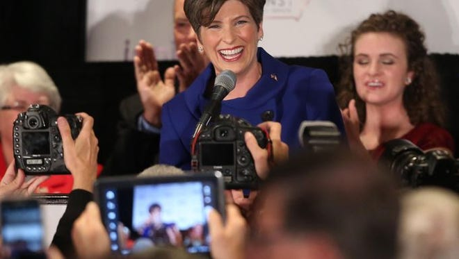 Republican Senator-elect Joni Ernst thanks supporters on Tuesday Nov. 4, 2014 after defeating Democrat U.S. Rep. Bruce Braley for the U.S. Senate seat held for 30 years by Democrat Tom Harkin, who was not seeking reelection.