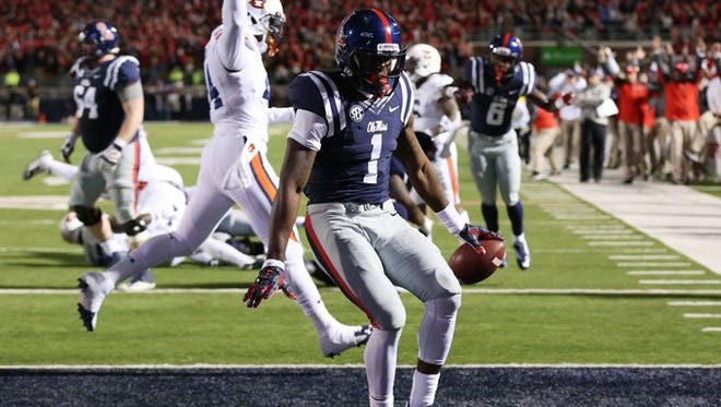 Ole Miss receiver Laquon Treadwell runs into the endzone for a touchdown.