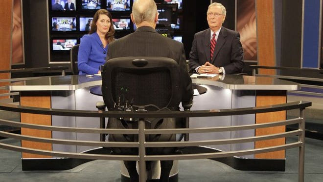 Alison Lundergan Grimes and Mitch McConnell debate.