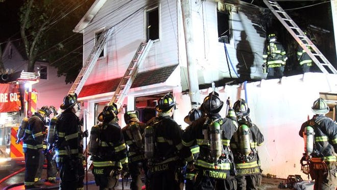 Ten people were displaced by a fire on Maplewood Avenue Friday night. There were no injuries.