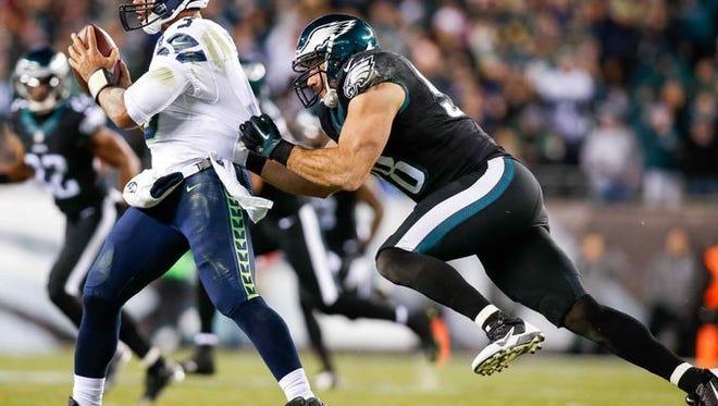 Eagles linebacker Connor Barwin sacks Seahawks quarterback Russell Wilson on Sunday.