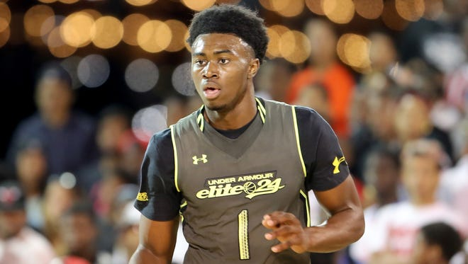 Team Liberty's Jaylen Brown in action against Team Freedom during the Under Armour Elite 24 Game on Saturday, August 23, 2014 in Brooklyn, NY.